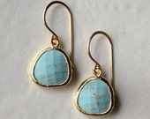 SALE: light turquoise stone drop earrings ( in gold or silver )