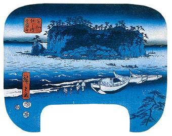 Hand-cut wooden jigsaw puzzle. KINKIZAN BOATS on BEACH. Hiroshige. Japanese woodblock print. Wood, collectible. Bella Puzzles.