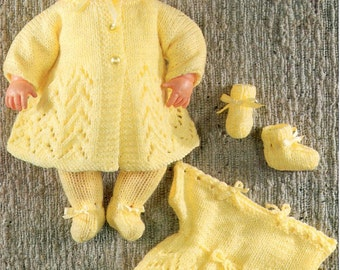Download -  KNITTING PATTERN for doll 12 inches and 16 inches Tiny Tears -  Dress, Coat, Booties, Leggings, Bonnet, Pants