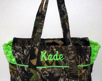 Mossy Oak Breakup Camo Baby Lime Green Fancy Diaper Bag or Tote-Choose your color