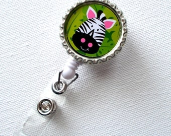 Zebra Green - Retractable Badge - Nursing Badge Holder - Cute Badge Reel - Nurse - Pediatric Badge Holder - Nurses Badge Clip