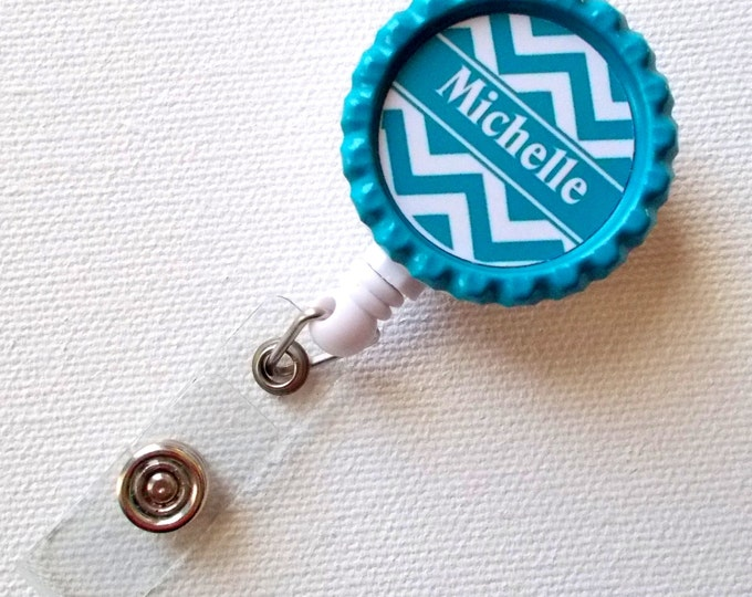 Chevron Blue - Monogram Badge Holder - Name Badge Holder - Personalized ID Badge Clip - Fun ID Badge Reel - Nurse Badge Pull