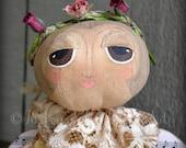 Serafina The Angel Of Spring Shelf Sitter Doll Primitive Soft Sculpture Art Doll Rustic OOAK Round Head Angel