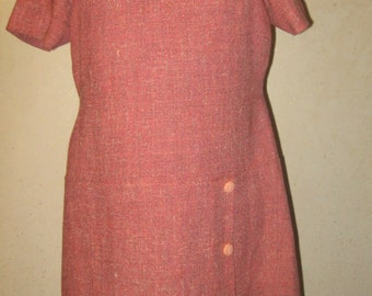 Vtg 60s Pink Tweed MOD Drop Waist Sheath A line Mini Dress w Bakelite Buttons
