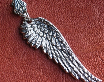 3 Wing Pendants with FILIGREE Bails Oxidized antique Zinc silver Deeply etched stampings Two inches long