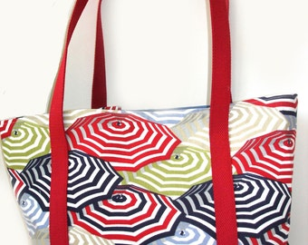 Summer beach bag, tote bag, canvas tote, pool bag, spa tote bag, large travel tote, diaper bag, red white blue, patriotic tote bag