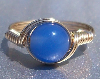 Blue Agate Ring Custom Sized 14k Gold Wire