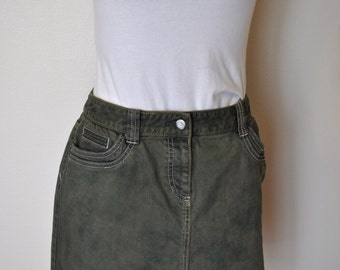 Green Sz 3 Small Denim Jean SKIRT Apple Green Dyed Tommy