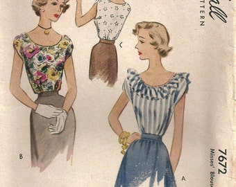 McCall 7672 // Vintage 40s Sewing Pattern // Blouse // Size 14