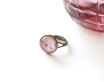 SALE - 50% OFF. Flying Birds Ring. Pink Sky Ring. Glass Dome Ring. Adjustable Ring. Romantic Jewelry.