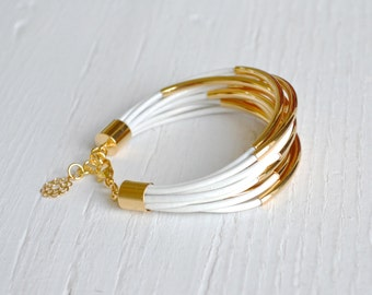 White Leather Cuff Bracelet with Gold Tube Beads - Multi Strand Bangle Women's Bracelet ... by  B A L O O S