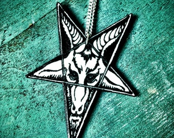 baphomet goat pentagram necklace black dark star pendant goat head occult with silver plated chain NEW