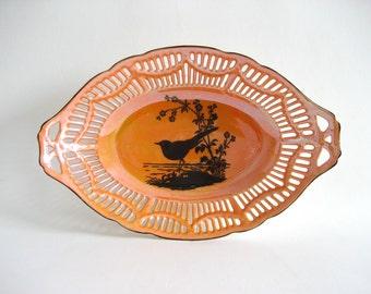 Bowl Orange Luster Black Raven Silhouette Reticulated w/ Spider Web Latticework