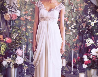 "French Lace Cap Sleeve Empire Waist Sweetheart Neckline Wedding gown,Illusion Neckline, Layered Chiffon Skirt, The ""Isabella"" Gown by Schone"