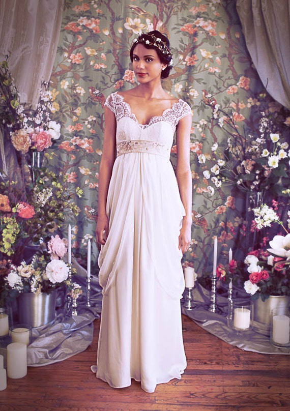"""French Lace Cap Sleeve Empire Waist Sweetheart Neckline Wedding gown,Illusion Neckline, Layered Chiffon Skirt, The """"Isabella"""" Gown by Schone"""