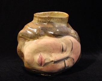 Face Vase Dreamer Head Sculpture Ikebana Vessel Goddess Art Pot