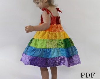 Rainbow Dress PDF Pattern - Toddler/Girls Patchwork Sundress Sewing Tutorial - Instant Download