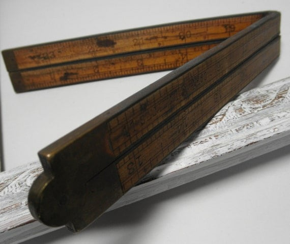 """Stanley No. 62 Folding Rule.  Vintage Stanley  24"""" Wood Measure.  Old Foldup Boxwood and Brass Measuring Rule.  Old Hand Tool Measure"""