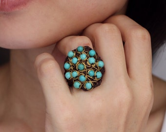 Turquoise Wire Cocktail Ring