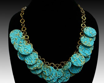 Aqua and gold polymer clay necklace