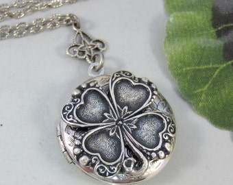 Lucky Charm,Locket,Shamrock,Antique Locket,Silver Locket,Clover,Luck,Irish,Lucky, Shamrock,Love. Handmade jewelry by valleygirldesigns