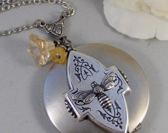 Honey Bee,Locket,Necklace,Silver Locket. Antiqued Silver,Charm,Wings,Honey,Yellow.  Handmade jewelery by valleygirldesigns on Etsy.