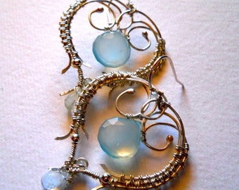 SIlver Filigree Heart with Chalcedony and Aquamarine