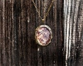 Celestial Locket Necklace - Rustic Dark brown locket copper gold burgundy oval locket-  Women