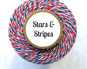 Red, White, and Blue Bakers Twine - Stars & Stripes Trendy Twine