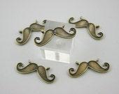 5 pcs.Zinc Antique Brass Mustache Charms Pendants Decorations Findings 28 mm. MUT BR28 RC