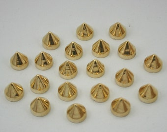 50 pcs. Acrylic Gold Cone SPIKES Bullet Rivets Studs Leather Craft Decorations Findings 10 mm. CHBLG10