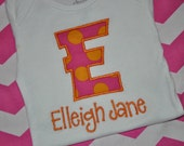 Monogrammed Embroidered Personalized Initial and Name Baby Applique Onesie or Shirt