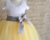 Flower Girl tutu in yellow with grey sash waist. Custom blend of yellows. Flower clip option.