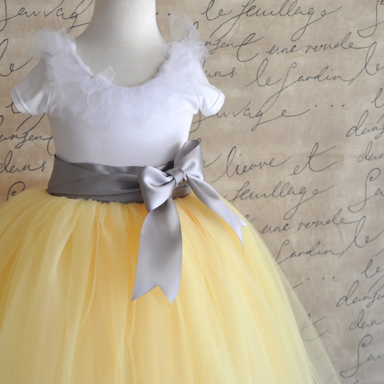 Gray yellow flower girl dress
