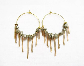 Gemstone Hoop Earrings, Fringe Hoop Statement Earrings, Pyrite Earrings