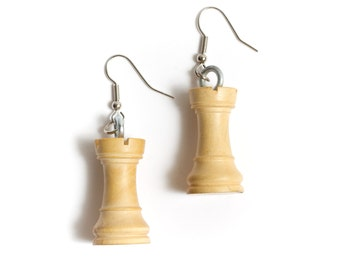 Chess Piece Earrings - White Rooks (Recycled/Upcycled) - Wood wooden earrings white towers