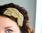Grey and Yellow Leaf Headband - Gray and Mustard Headpiece - Embroidered Hair Accessory