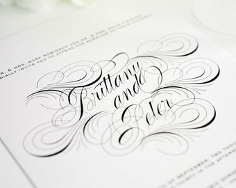 Wedding Invitation, Swirls, Flourishes, Large Names, Black, White Wedding Invites - Luxe Flourish Wedding Invitation - Sample Set