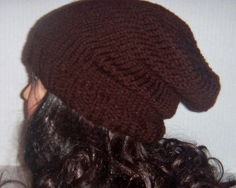 Brown Men's Knitted Slouchy Beanie Hat, Winter Hat