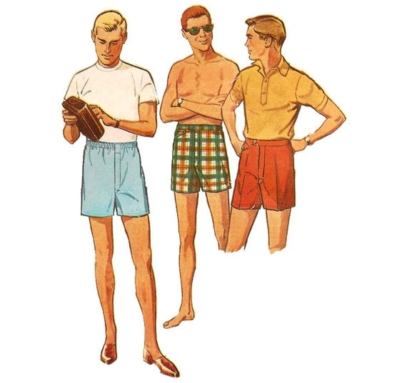 1960s Mens Boxers Shorts Swim Trunks - Simplicity 4725 Vintage Sewing Pattern - 34-36 Waist