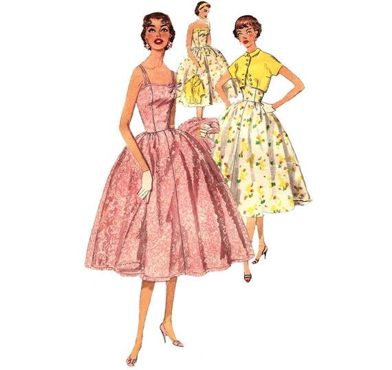 1950s Juniors Sundress or Party Dress - Simplicity 1157 Vintage Pattern - Bust 30 Size 12