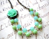 Turquoise Green Flower Necklace Two Strand Beadwork Necklace Mint Bib Necklace Aqua Bridesmaid Necklace Summer Wedding Jewelry