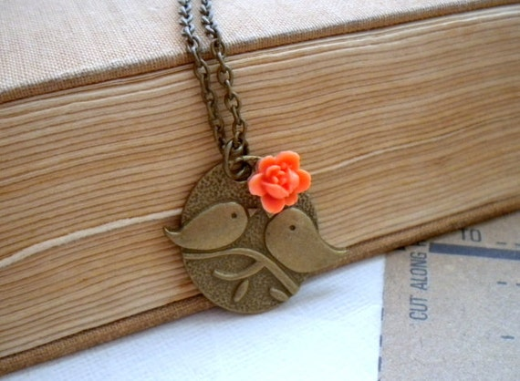 Bird Necklace Orange Necklace Flower Necklace Bird Pendant Kissing Couple Pendant Flower Girl Necklace Bird Bridesmaid Necklace