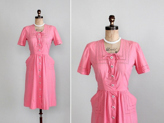 bubblegum pink vintage 40s cotton dress with pockets