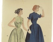 Butterick 6990 1960s Full Skirt Swing Dress Vintage Sewing Pattern Bust 32 Rockabilly
