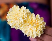 Double Lemon Pom Pom Hair Flower