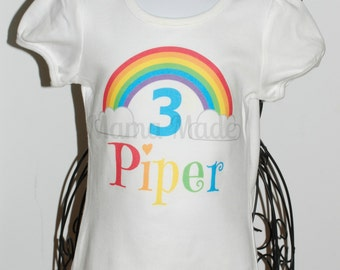 Personalized Rainbow Birthday Shirt or Bodysuit rainbow party shirt rainbow birthday shirt,girls birthday shirt,girls rainbow birthday shirt