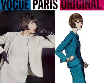 60s JACQUES GRIFFE Mod Dress & Jacket Pattern Vogue Paris Original 1360 Vintage Sewing Pattern Size 14 Bust 34 inches UNUSED Factory Folded