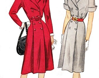 40s Double Breasted Shirtdress Pattern Simplicity 1863 Vintage Sewing Pattern Size 14 Bust 32 UNCUT Factory Folded