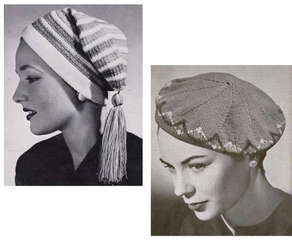 40s womens hats knitting crochet patterns book patons 490